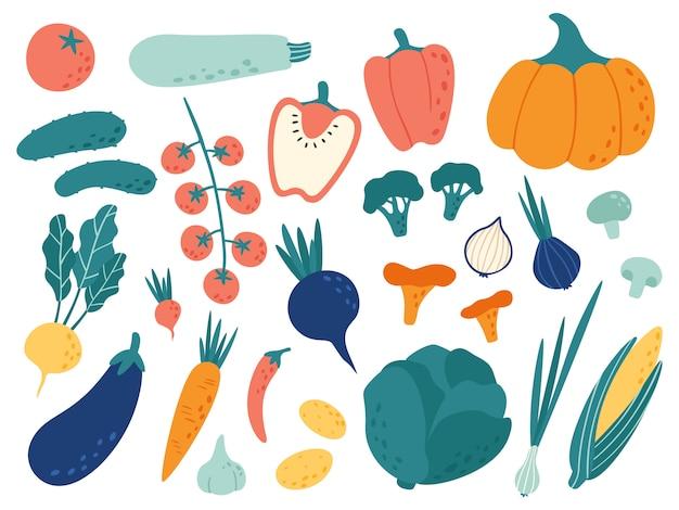 Légumes dessinés à la main. doodle de nutrition de légumes, nourriture végétalienne biologique et jeu d'illustration de griffonnages de légumes