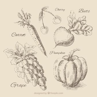 Légumes dessinés à la main mis