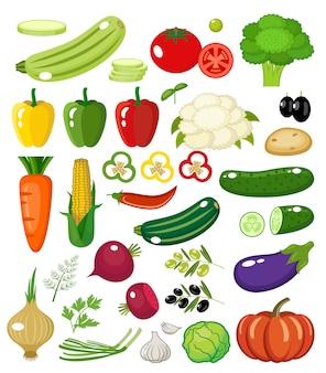 Légumes sur fond blanc isolé.
