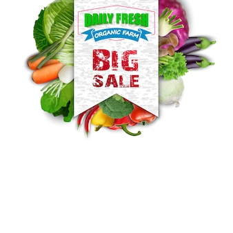 Légumes frais avec bannière de vente