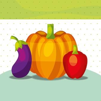 Légumes frais bio poivre sain citrouille aubergine