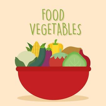 Légumes frais dans le bac plein