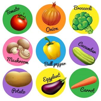Légumes frais dans des étiquettes rondes