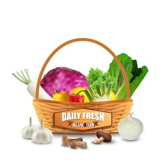 Légumes frais dans le panier en osier isolé sur blanc