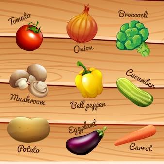 Légumes frais avec des noms