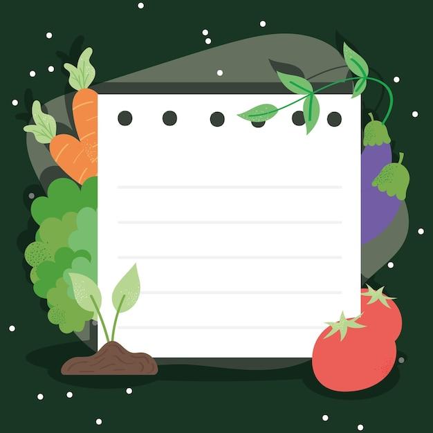 Légumes frais et papier