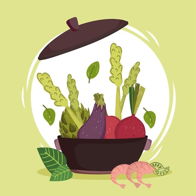 Légumes frais en pot