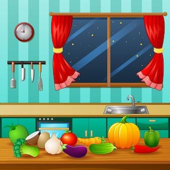 Légumes frais sur une table en bois à la cuisine