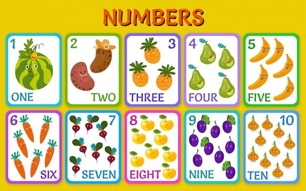 Légumes et fruits. cartes avec des nombres.