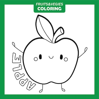 Légumes et fruits à colorier personnages pomme