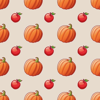 Légumes et fruits pomme et citrouille modèle sans couture pour les illustrations lumineuses d'impression textile