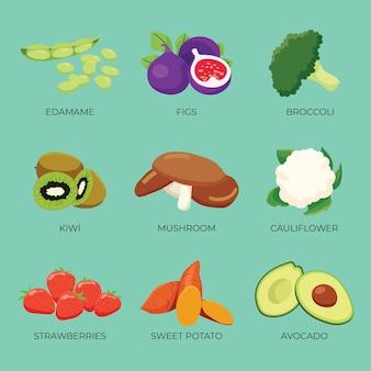 Légumes et fruits avec texte