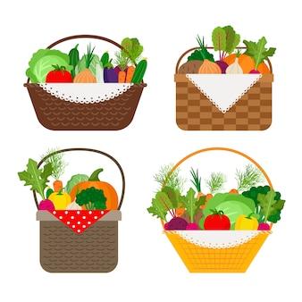 Légumes en icônes de paniers sur blanc