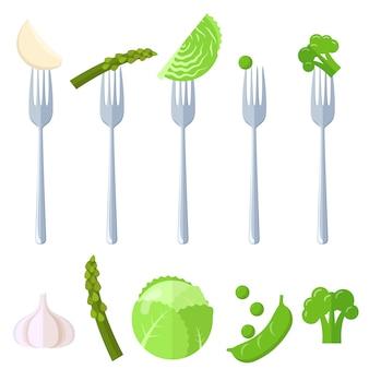 Légumes juisy frais sur fourches