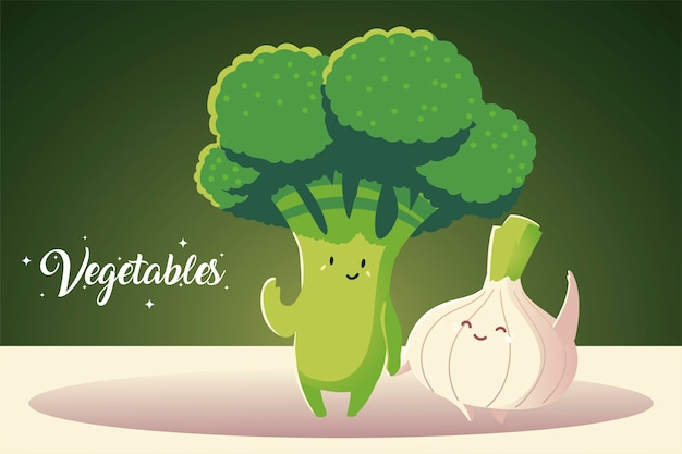 Légumes kawaii mignon brocoli et oignon cartoon style vector illustration