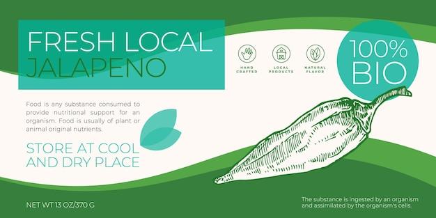 Légumes locaux frais étiquette modèle abstrait vecteur emballage conception horizontale mise en page typo moderne...