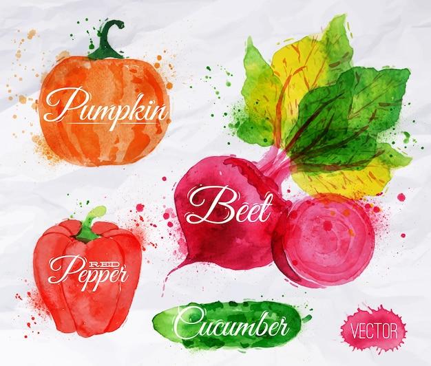 Légumes maïs à l'aquarelle, brocoli, piment,