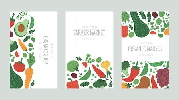 Légumes marché agricole nourriture doodle affiches dessin animé illustration vectorielle