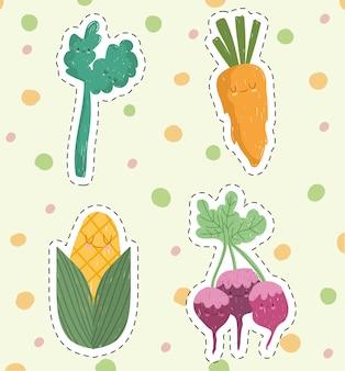Légumes mignons de dessin animé