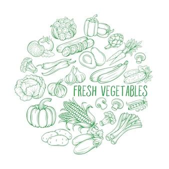Légumes monochromes décoratifs