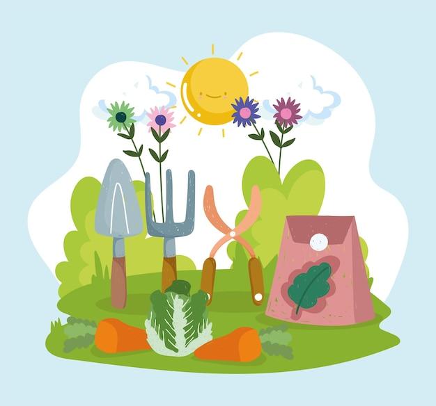 Légumes et outils du jardin