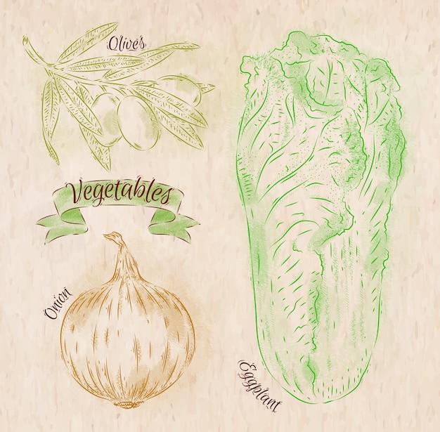 Légumes peints de différentes couleurs dans un style campagnard oignon, chou napa, olives