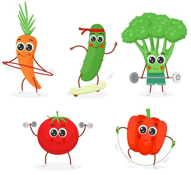 Légumes de personnages de sport de dessin animé