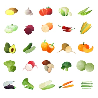 Légumes polygonale icon set