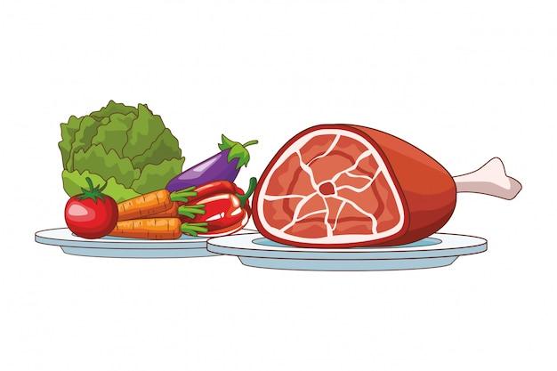 Légumes et porc