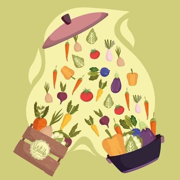 Légumes en pot et boîte