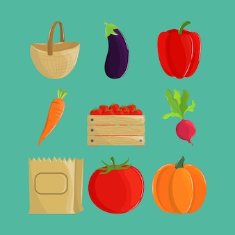 Légumes et sac écologique