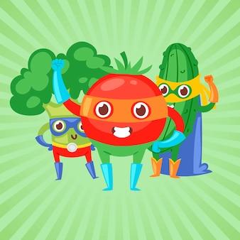 Légumes de super-héros en illustration de masques.