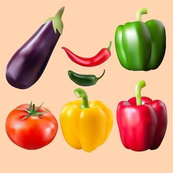 Légumes de vecteur réaliste
