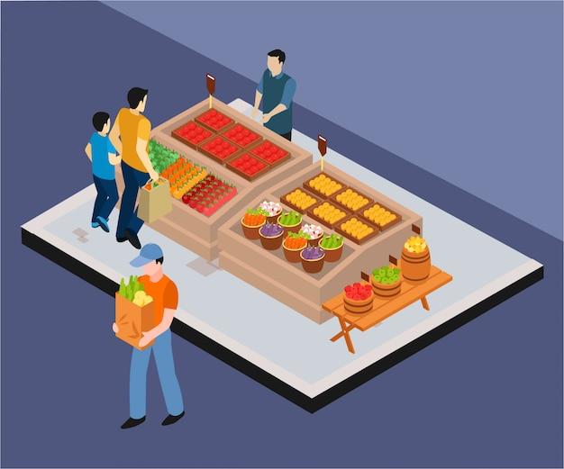 Légumes vente isométrique