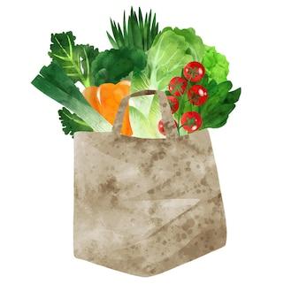 Légumes verts frais dans un sac en papier dessinés à la main