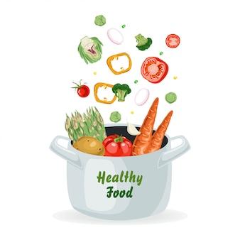 Légumes volant dans le pot