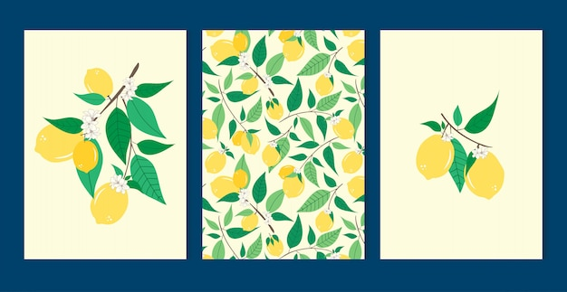 Lemon set seamless pattern