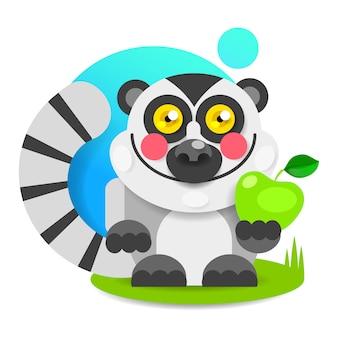 Lemur enthousiaste avec des joues roses est assis sur l'herbe et des sourires. vecteur