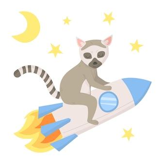 Lémurien mignon volant sur une fusée parmi les étoiles