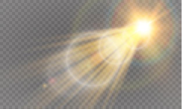 Lentille abstraite avant or flare solaire conception d'effet de lumière spécial transparent