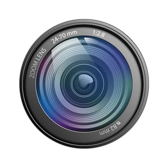 Lentille de caméra isolée sur illustration vectorielle fond blanc