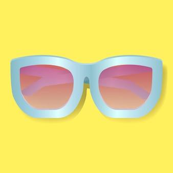 Lentille rose avec lunettes de soleil cadre bleu illustration vectorielle
