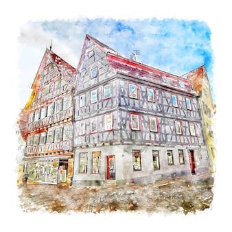 Leonberg allemagne aquarelle croquis illustration dessinée à la main