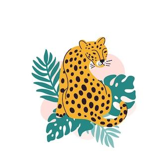 Léopard avec des feuilles de palmier