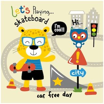 Léopard jouant au skateboard drôle animal cartoon