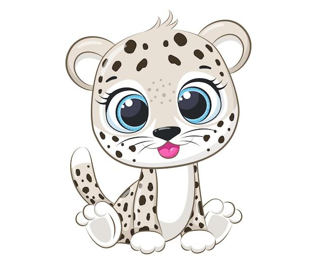 Le léopard mignon s'assied et sourit.cartoon