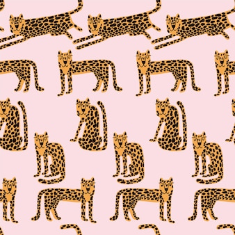 Léopard modèle sans couture animal sauvage imprimé léopard dessin animé drôle gepard