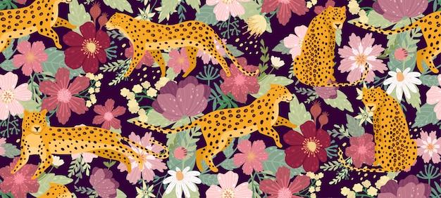 Léopards entourés de belles fleurs. texture transparente motif été élégant vecteur dans un style branché.