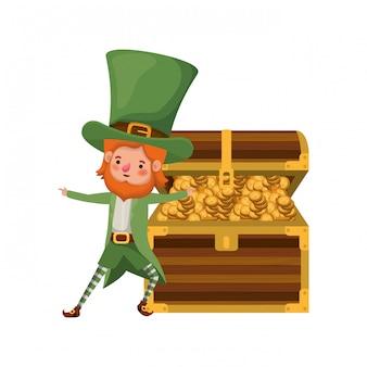 Leprechaun avec coffre et monnaies