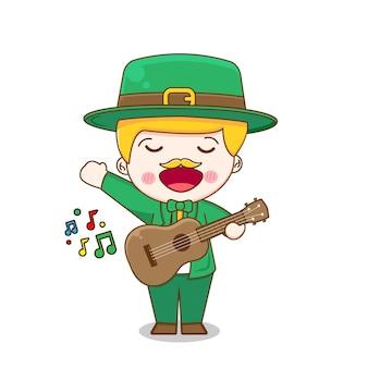 Leprechaun jouant de la guitare personnage de dessin animé de jour de saint patrick isolé sur fond blanc